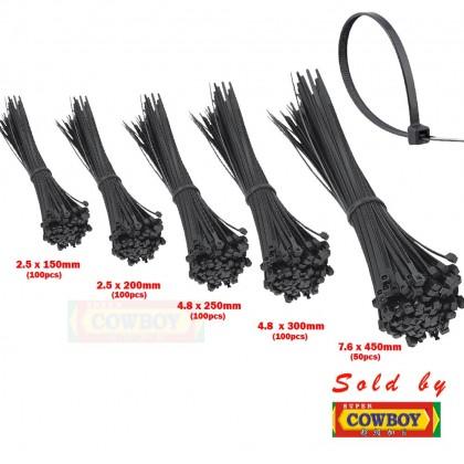 Black Nylon Cable Ties 2.5x150mm 2.5x200mm 4.8x250mm 4.8x300mm 7.6x450mm