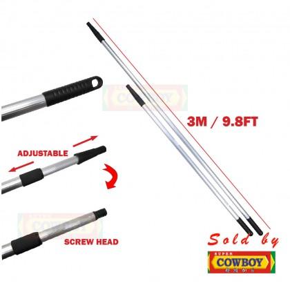 (1.2m-3m) Adjustable Heavy Duty Aluminium Broom handle with screw head / Besi batang penyapu boleh laras